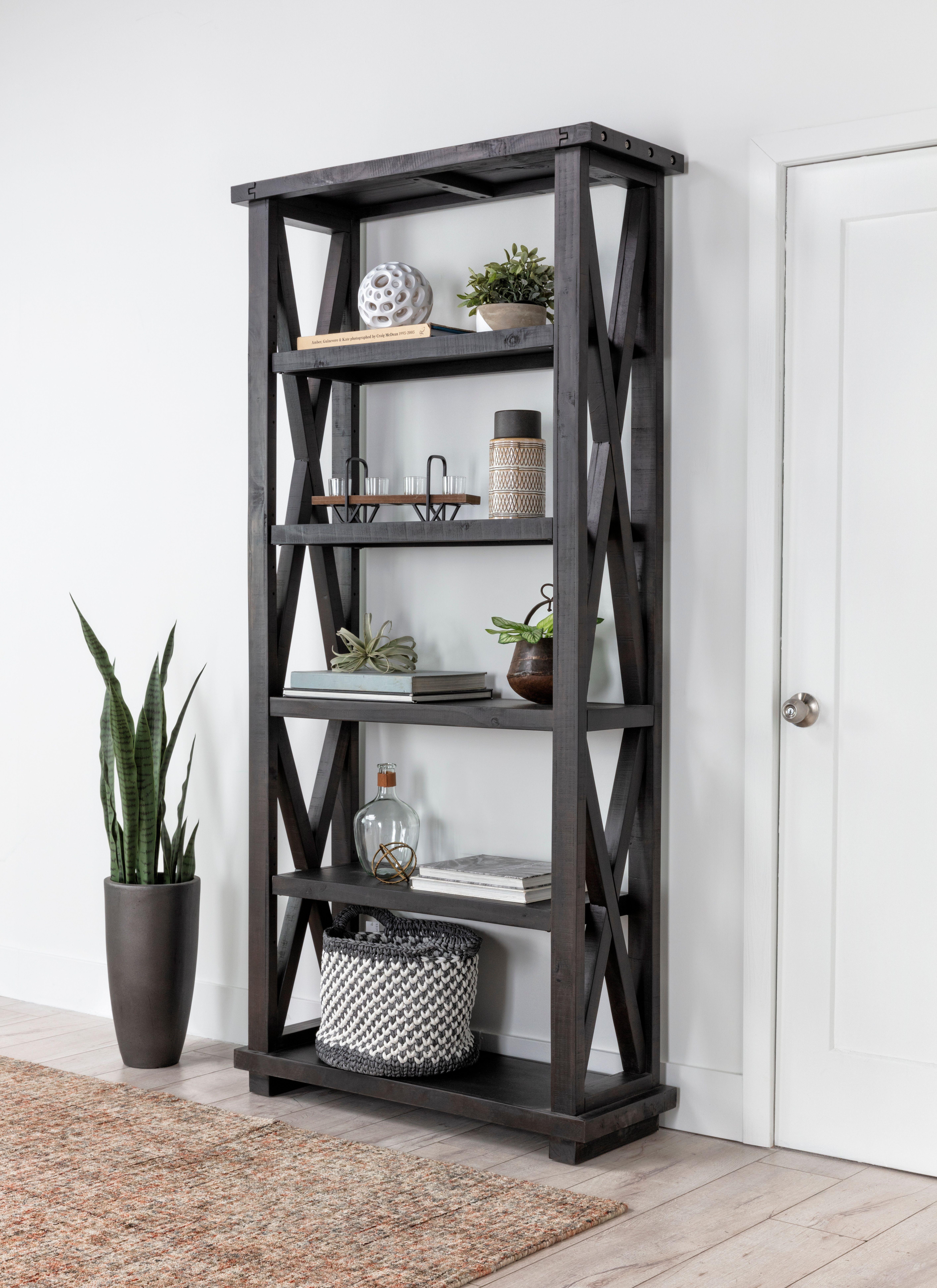 Jaxon 82 Inch Bookcase In 2020 Bookcase Rustic Bookcase Blue Wall Mirrors