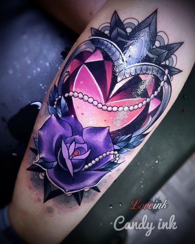7fe6f37a5d752 #neo #traditional #dark #girly #tattoo #crystal #diamond #heart #purple  #violet #rose #mandala #lace