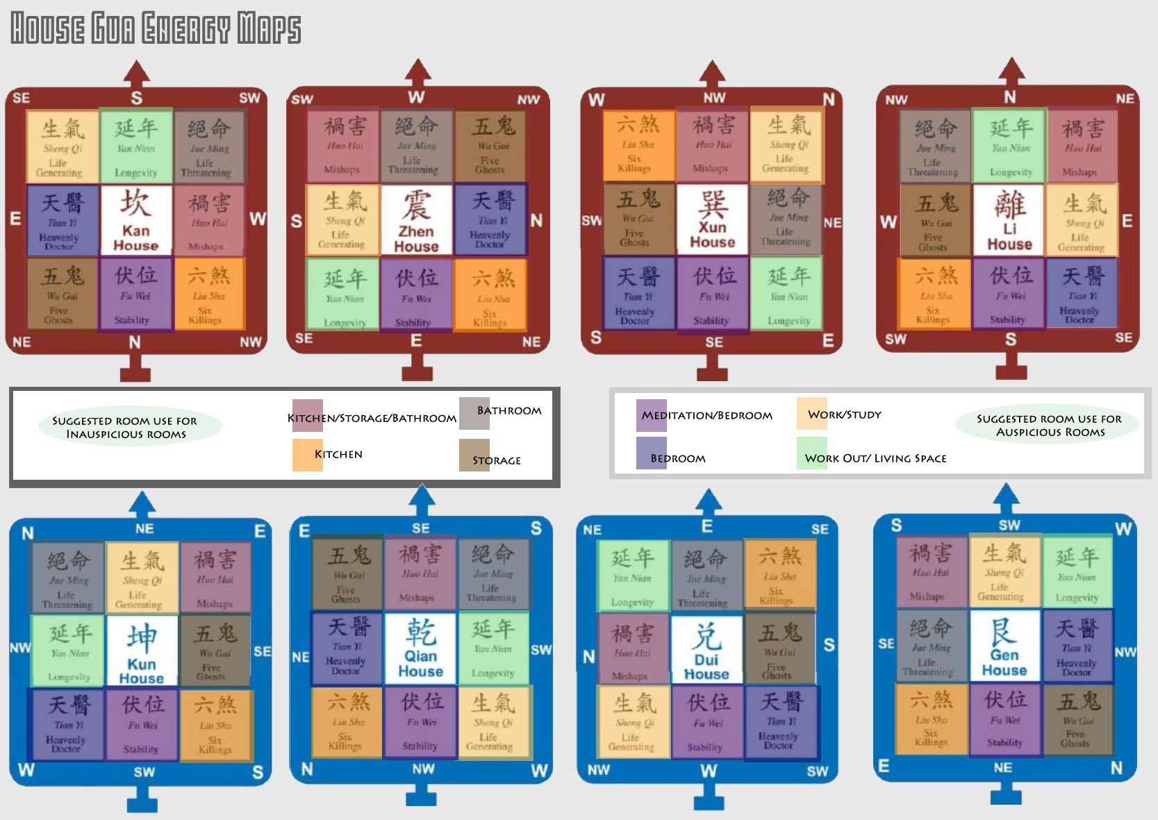 house gua energy maps. feng shui cheat sheet for suggested room use.