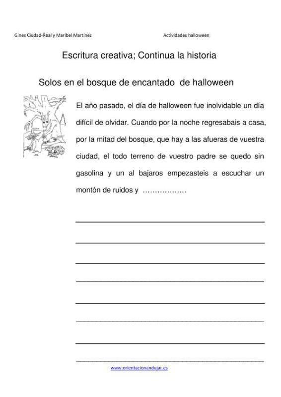 Escritura creativa continua la historia el bosque de Halloween ...