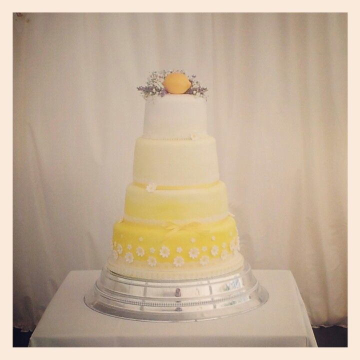 Hand painted yellow ombre wedding cake by Mimosa Bakery. | Cakes ...