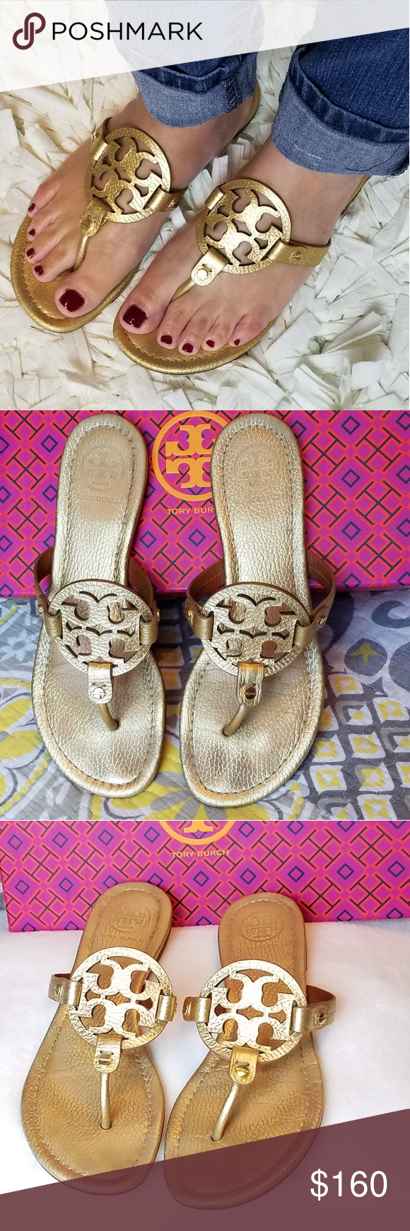 3cf273c17fc66 Tory Burch Miller tumbled gold leather Tory Burch Miller Gold metallic  tumbled leather. In very