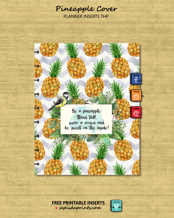 FREE printable planner insert, Pineapple Crown cover