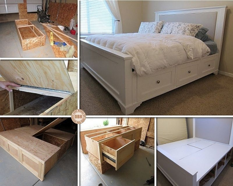 Diy Farmhouse Storage Bed With Storage Drawers King Size Bed