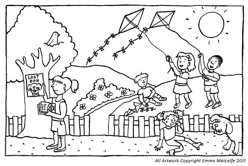Children play the Kites In the Park Colouring Picture