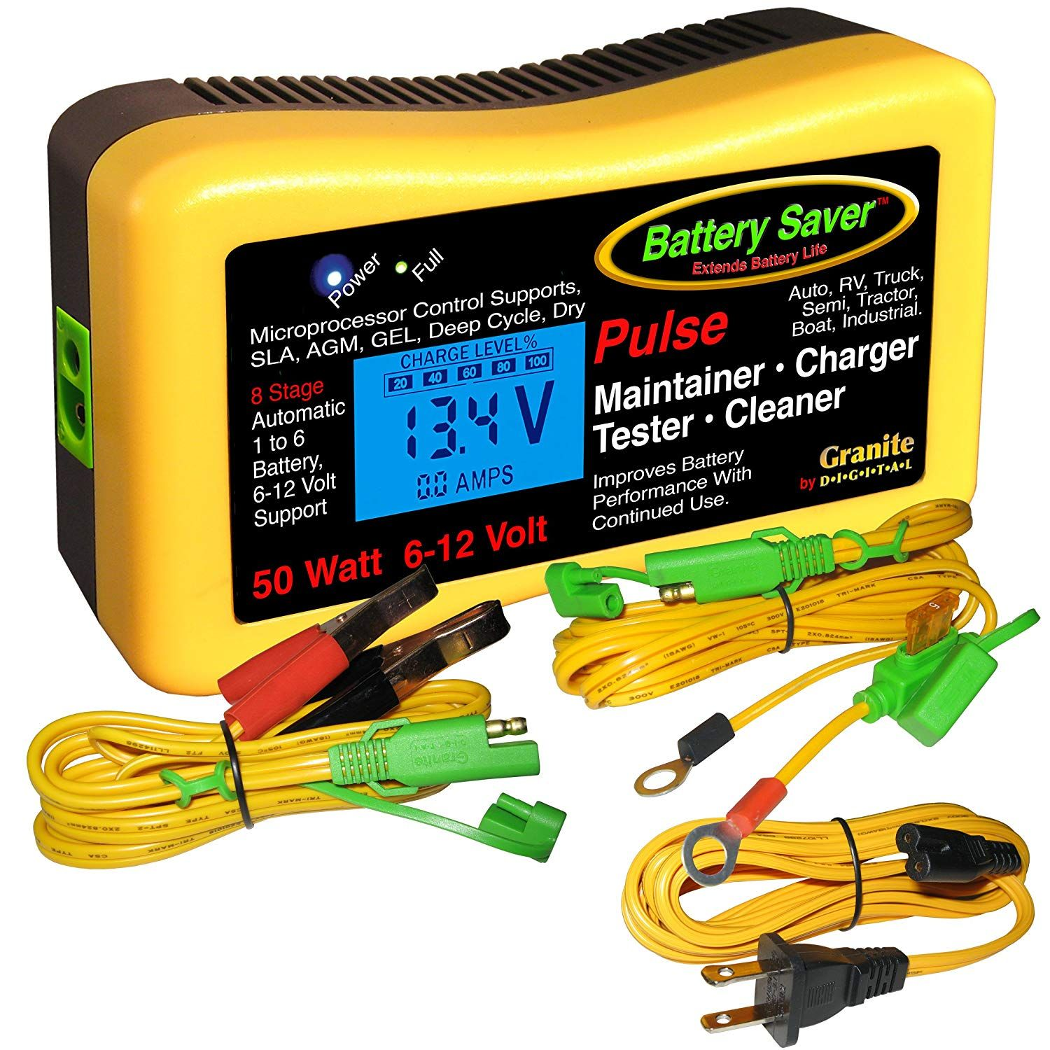 Battery Saver 2365 Lcd Battery Charger Maintainer Pulse Cleaner And Tester 50 W 6v And 12 V See This Great Product Th Battery Charger Battery Charger