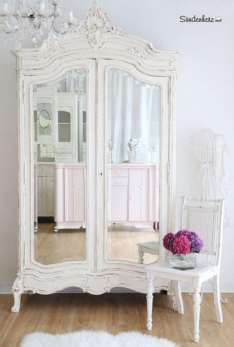 Shabby Chic Kleiderschrank, vintage möbel, jugenstil kleiderschrank - schlafzimmerschrank landhausstil weiß