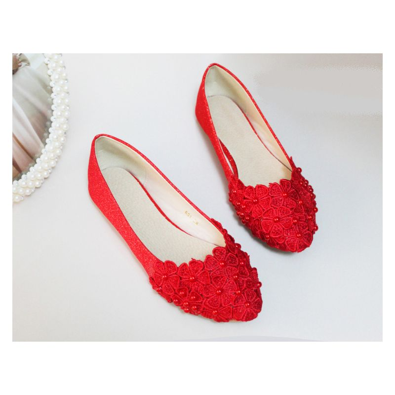 Handmade Lace Pearl Wedding Flat Shoes Handmade Bridal Pearl Summer shoes  Slip-On Floral Pointed Toe Lazy shoes wedding shoes 43b1b14307fb