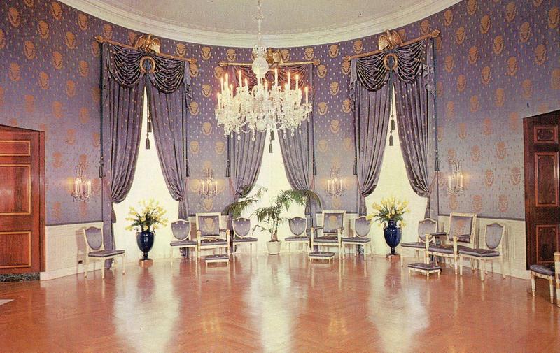 Vintage Blue Room Of The White House Washington Dc Postcard