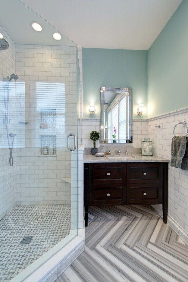 Badezimmer Bodenbelag Ideen Schwarz Weiß Zick Zack Muster Geradlinige  Fomen Marmor