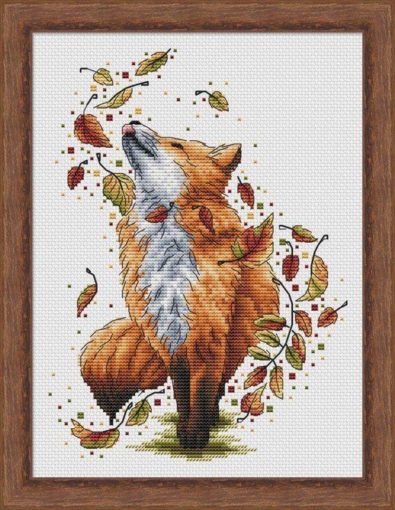 Photo of Autumn Cross Stitch Pattern PDF Instant Download Fox Cross Stitch Animal Cross Stitch Leaves Cross Stitch Stylish Cross Stitch Cute Cross