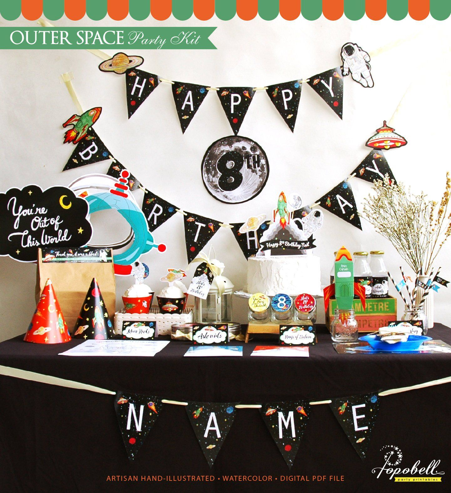 Outer Space Party Kit. Complete Outer Space Printables. Outer Space birthday party kit. Outer Space Party Set. Astronaut Party. DIGITAL PDFs #outerspaceparty