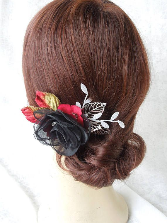 Floral hair clip, black, red and silver hair