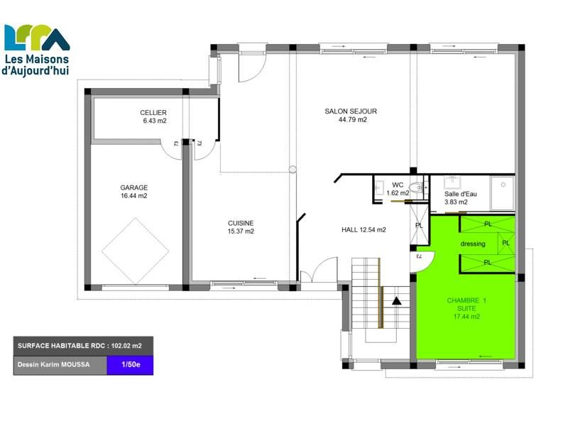 Plan Maison Contemporaine M  Pices  Chambres Garage  Plan