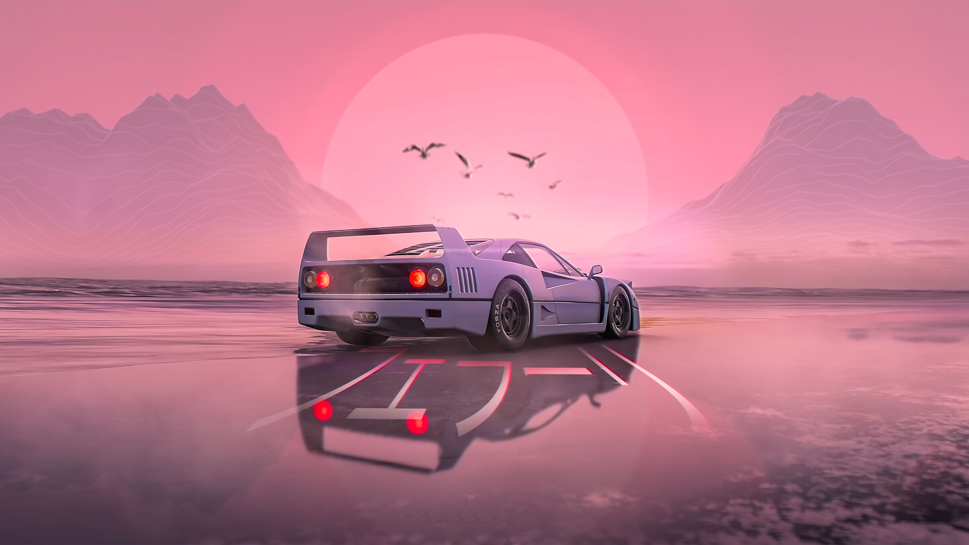 Retrowave F40 3840 X 2160 Aesthetic Desktop Wallpaper Heaven Wallpaper Wallpaper