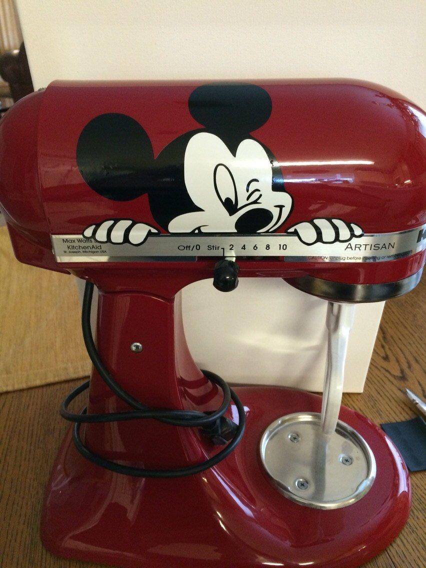 Cute peeking mickey mouse for kitchenaid mixers vinyl