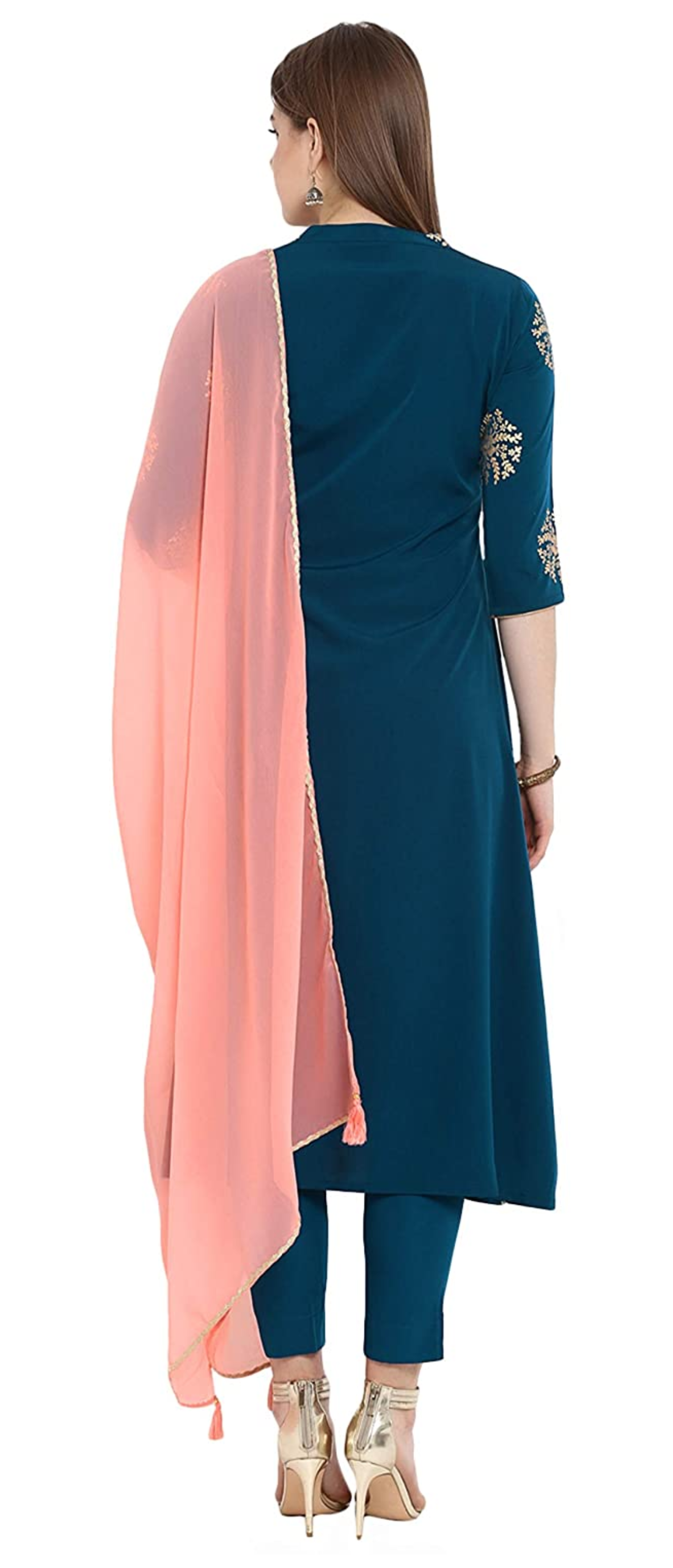 Pink and blue color chiffon patiala dress with crepe pants and chiffon stole