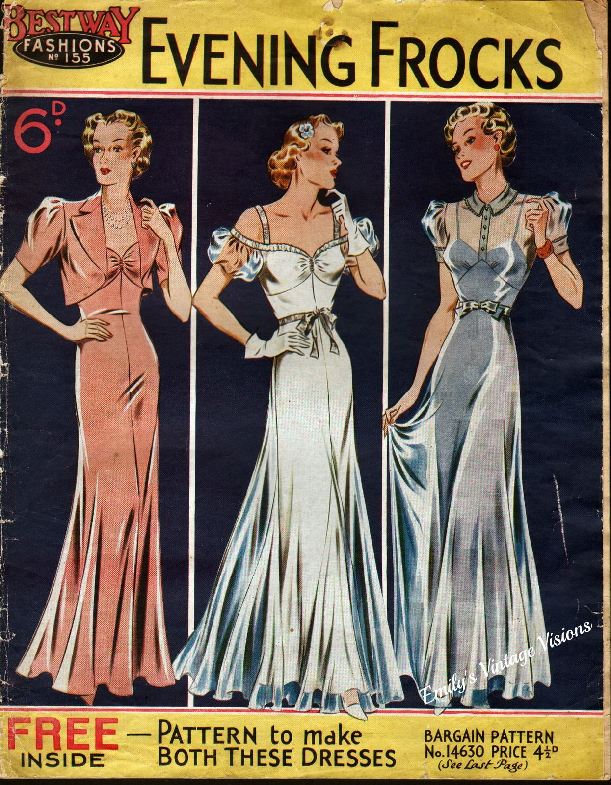 1930s vintage evening dress patterns | 1930s bestway fashions pattern catalog for evening gowns 1930s bestway