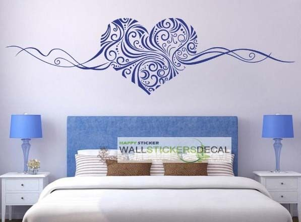 Heart Shaped Flower Vine Removable Wall Art Wall Stickers Bedroom Bedroom Stickers Wall Vinyl Decor