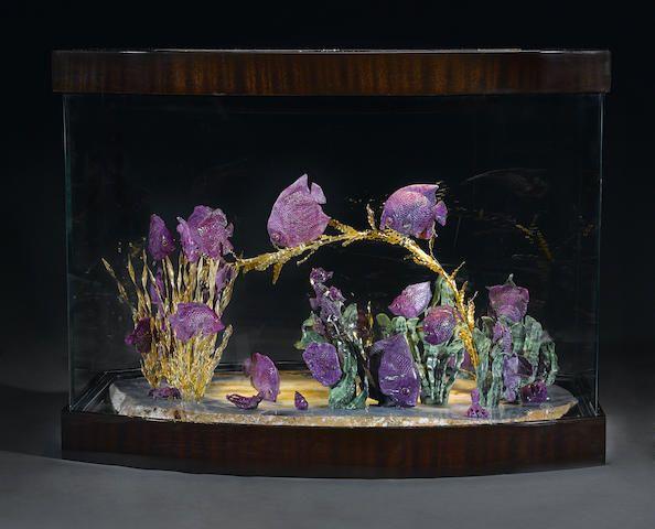 """Unique Ruby-in-Zoisite Carving of Fish-- """"The Aquarium"""""""