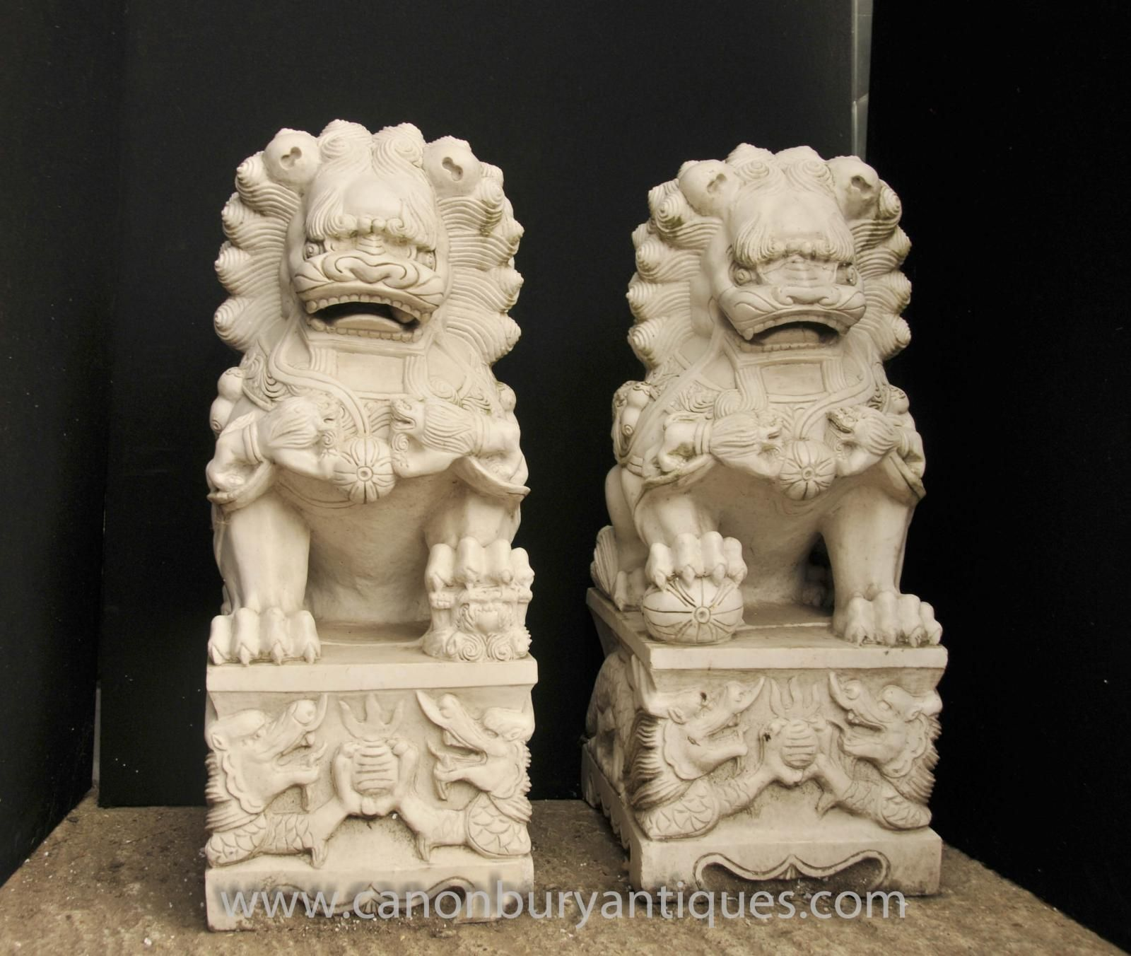 Photo Of Pair Marble Keiloon Fu Temple Dogs Foo Chinese
