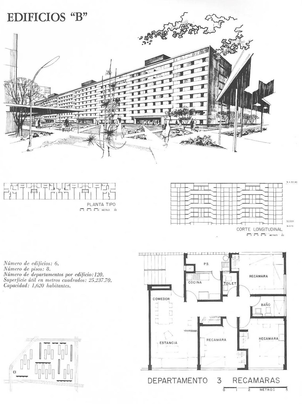 Perspectiva y plantas del proyecto de edificio de