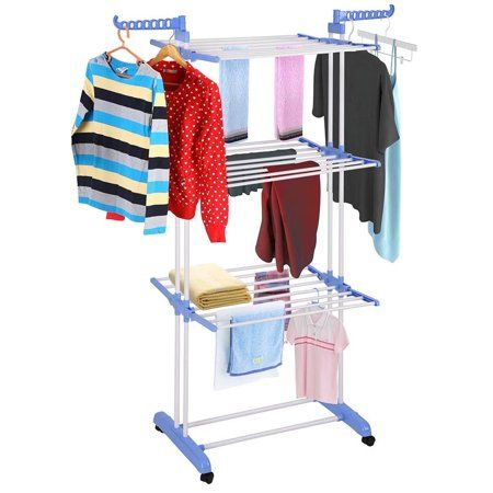 Blue Multifunctional Indoor Outdoor Folding Laundry Storage Rack Clothes Drying Rack Dry Drying Rack Laundry Clothes Hanger Storage Folding Clothes Drying Rack
