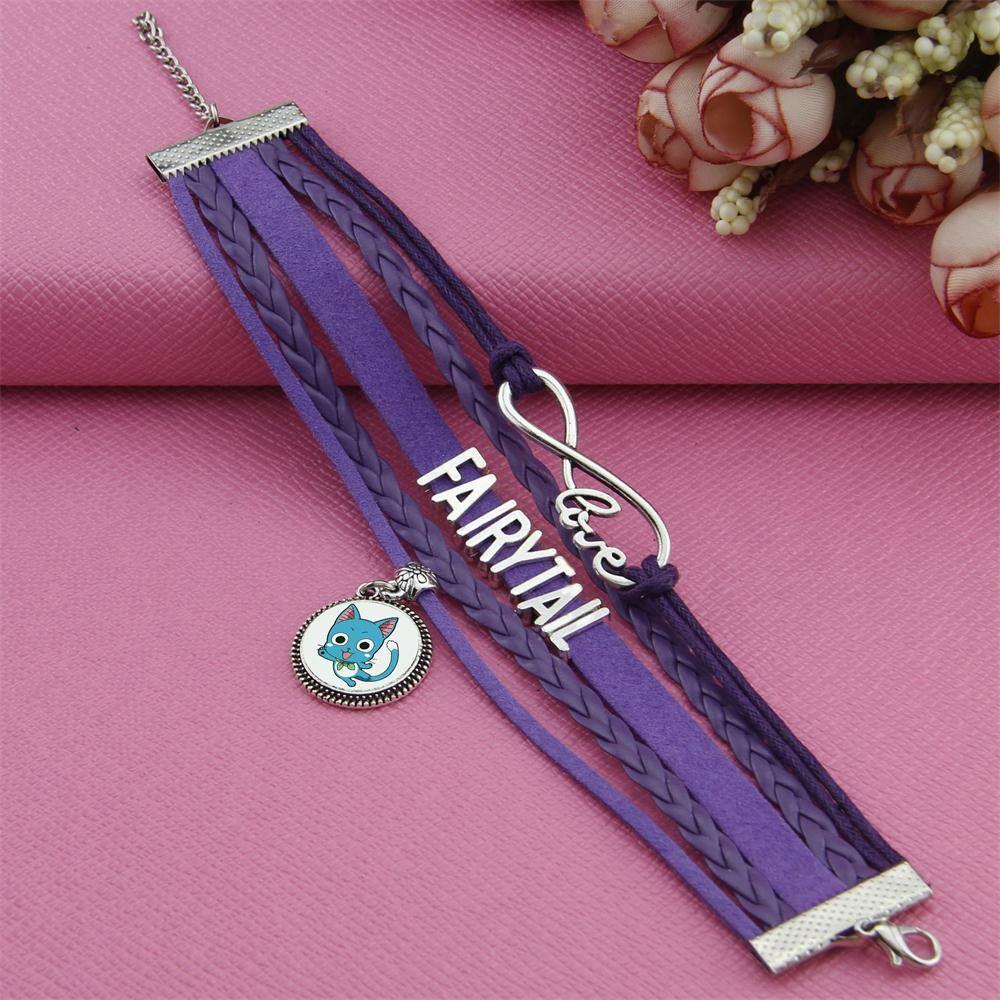 Fairy tail leather charm bracelet bangle anime crazy