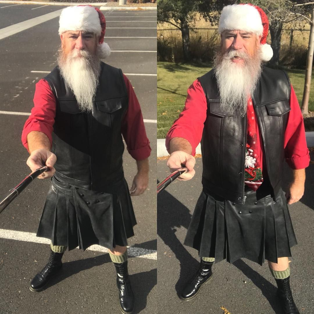 #happyhalloween !! This year, I introduce #ButchSanta or #BikerSanta or #LeatherSanta ! This maybe my #favoritecostume ever! Next year I'm getting the #furlinedboots and the #santacoat and the #SantaRedKilt to take the look to the next level !! #hohoho #merryKILTmass #kiltedOG #kilted #kiltedlife #kilt #SantaKilt #SantaBeard #utilikilt #leatherkilt @utilikilts @kiltnation @ktthekiltman