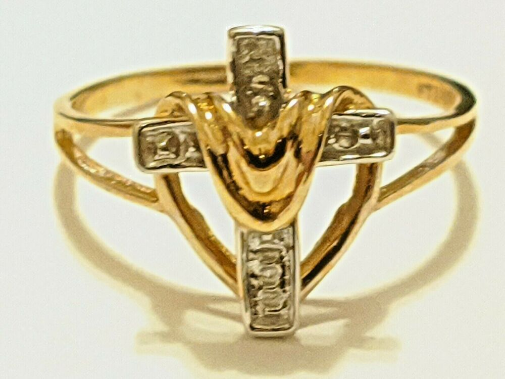 10k Yellow Gold Cross Ring Signed Hallmarked Ftj 10k About Size 6 3 4 Ebay In 2020 Cross Ring Sterling Silver Cross Pendant Gold Cross