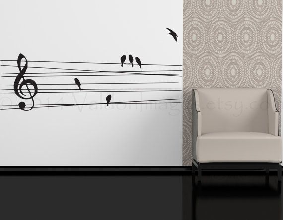 Birds On A Wire Wall Decal, Music Wall Decal, Bedroom Wall Decal, Dorm Room  Wall Decor, Living Room Wall Decal, Music Decal, Music Sticker