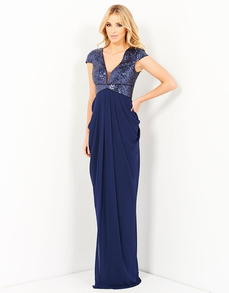 NAHLA SEQUIN GOWN WITH DRAPED CHIFFON - Dresses-Formal : Bariano ...