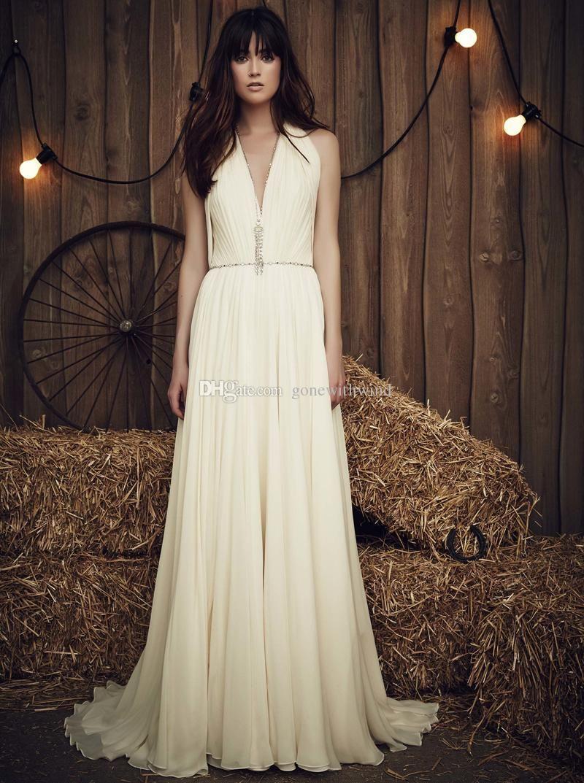 Simple white beach wedding dresses bridal gown halter neckline