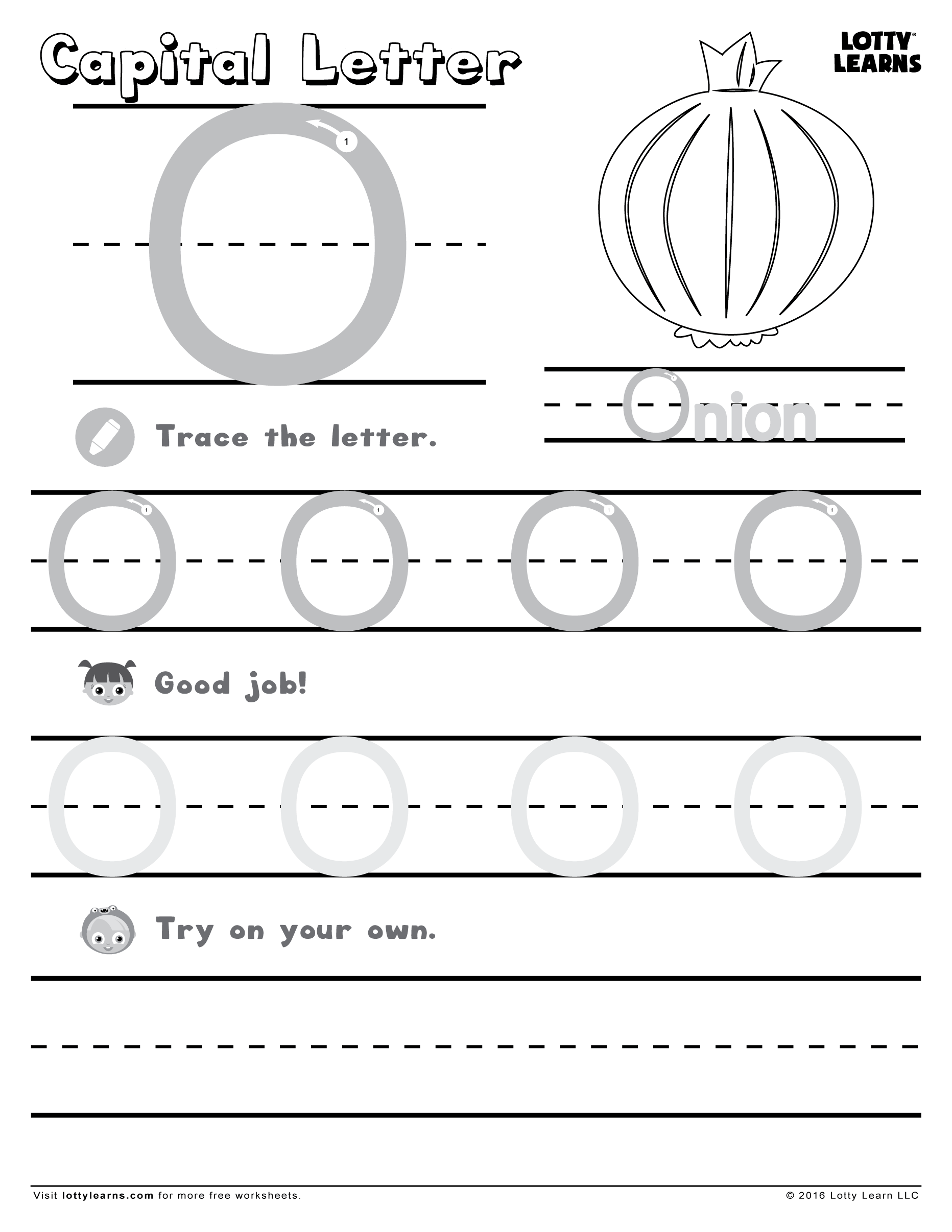 Capital Letter O Lotty Learns Handwriting Worksheets For Kids Alphabet Worksheets Preschool Learning Letters [ 2412 x 1864 Pixel ]