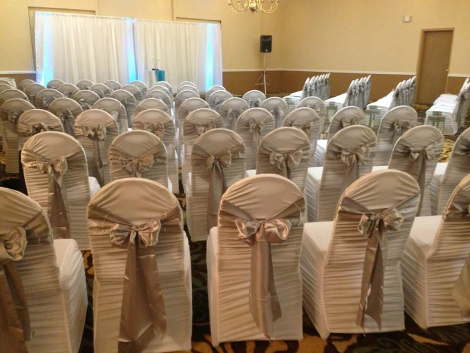 Rouge Spandex Chairs With Bow Provided By Party Palace In