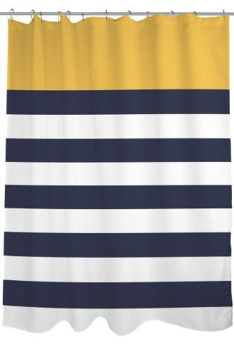 Bentin Home Decor Nautical Stripes Shower Curtain 71 By 74 Inch Mimosa