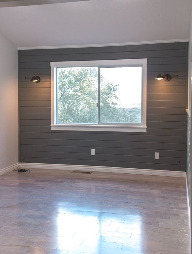 Planked wall painted dark gray Plank Walls