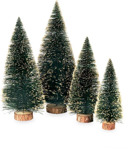 Sisal  Wood Bottle Brush Trees (Set of 4) Christmas decor