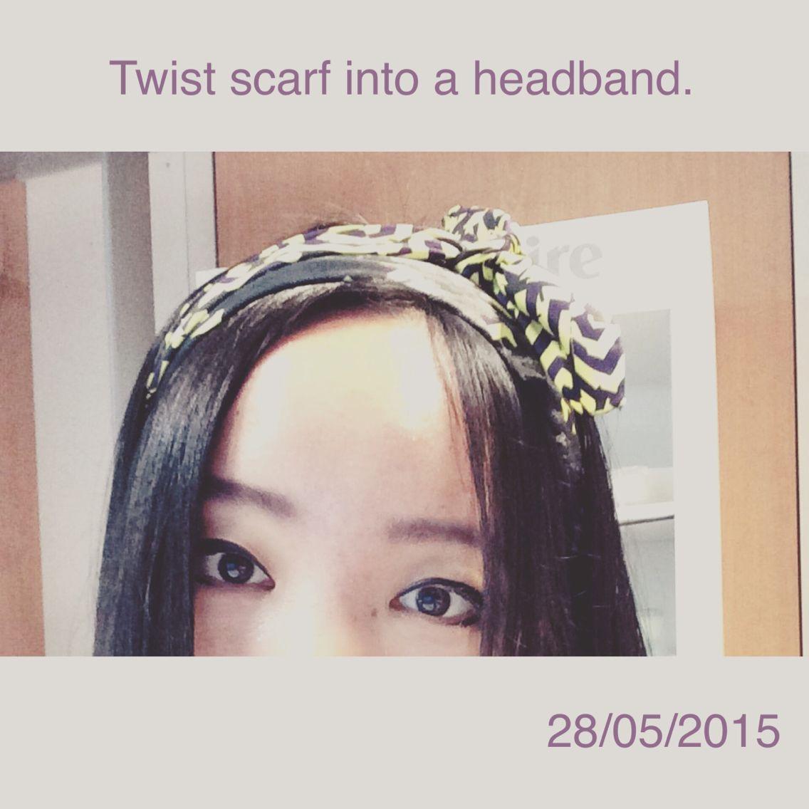 twist scarf into a headband