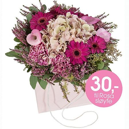 Rosa sløyfe bukett designet av Mona Grudt: https://www.mestergronn.no/blomsterbutikk/Kjop_blomster/Anledninger/rosa-sloeyfe