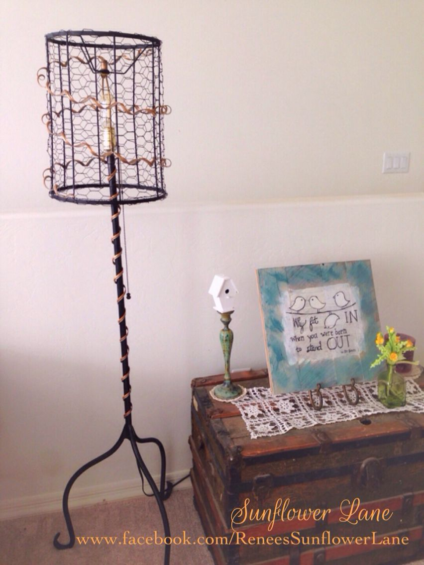 New lamp from old an old iron floor lamp an old lamp shade shade an old iron floor lamp an old lamp shade shade some chicken wire some scrap metal and a little magic later a vintage style radio tube light completes greentooth Choice Image