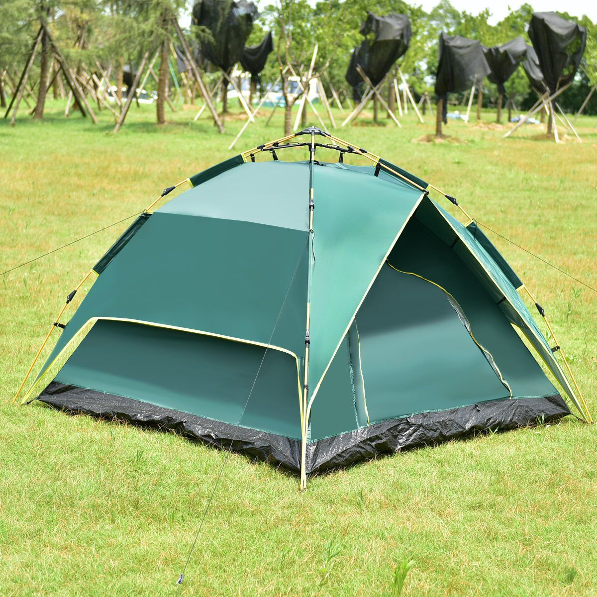 2-3 Person C&ing Waterproof Tent Hydraulic Automatic Instant Hiking w/ Bag & 2-3 Person Camping Waterproof Tent Hydraulic Automatic Instant ...