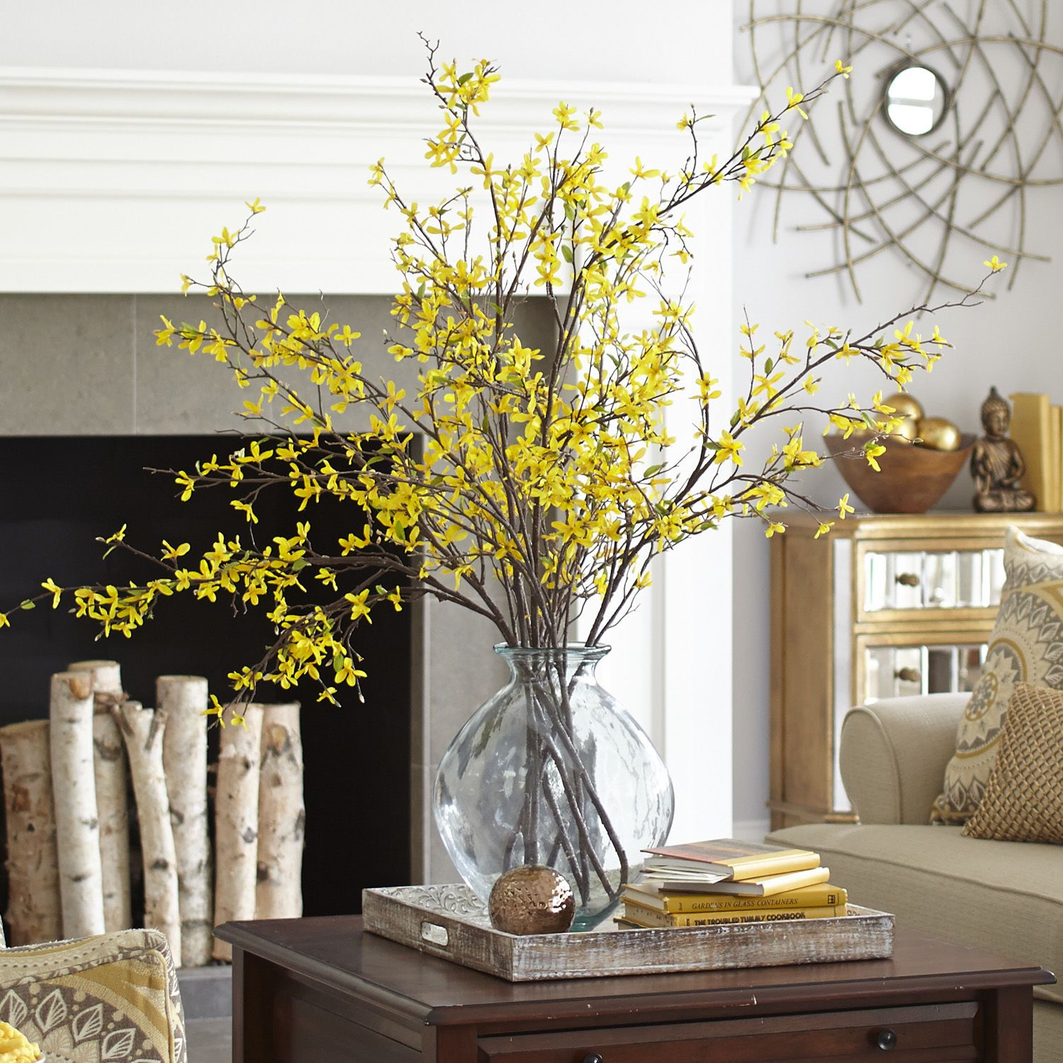 Living Room Table Centerpieces: Yellow Faux Forsythia Branch In 2019