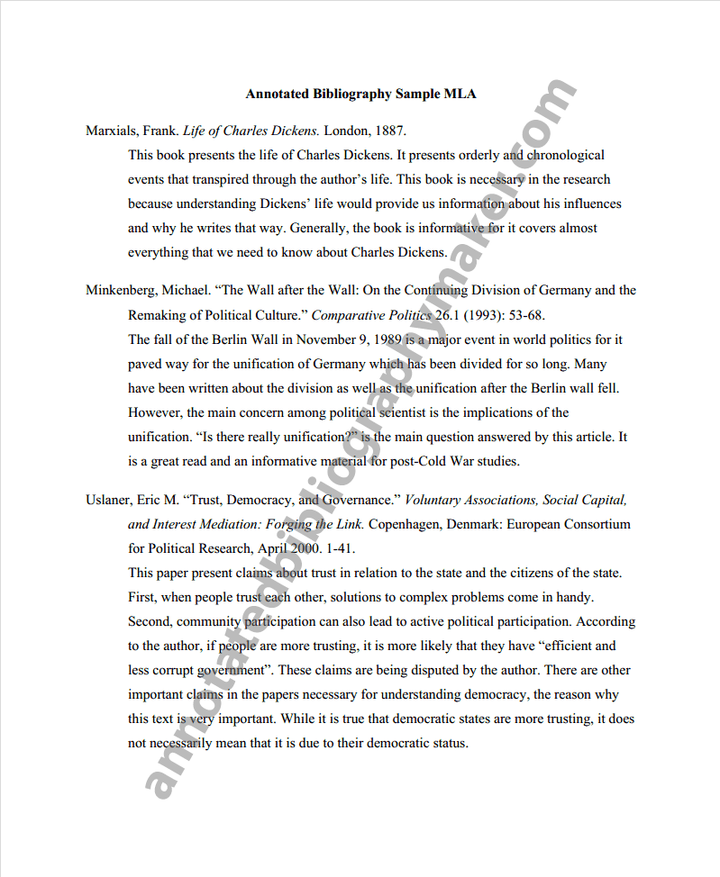 Annotated Bibliography Example Mla Style Essay Format Annotated