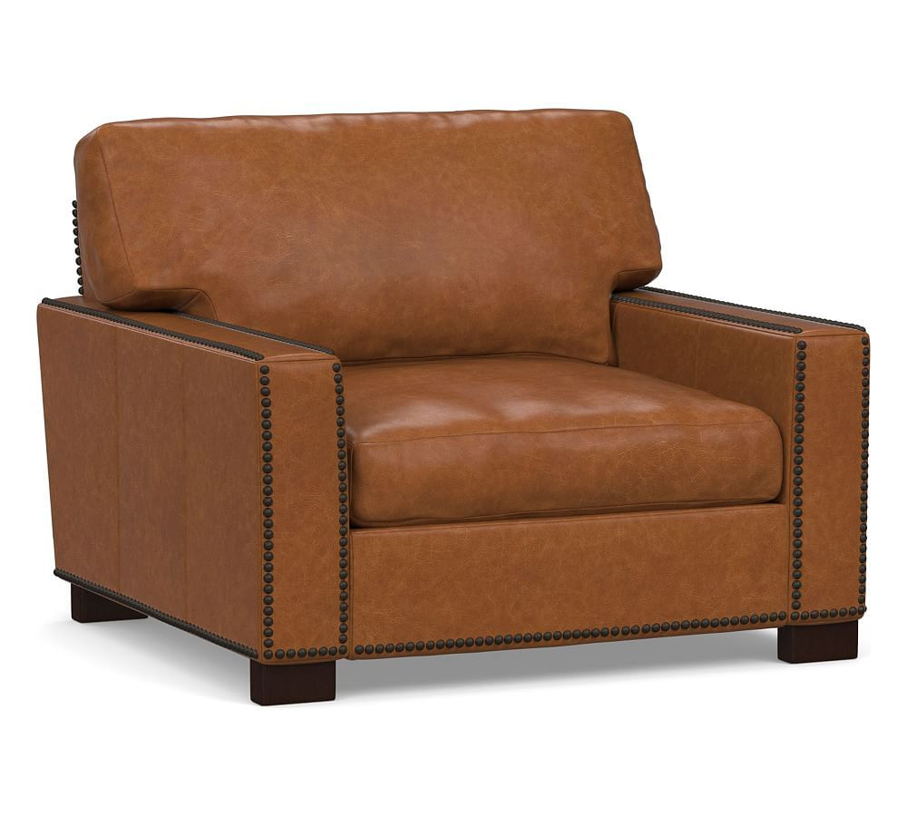 Turner Square Arm Leather Armchair With Nailheads Armchair