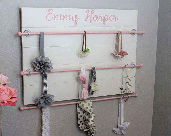 Hair bow holder Headbands organizer Peony flower baby Nursery room Decor Rustic