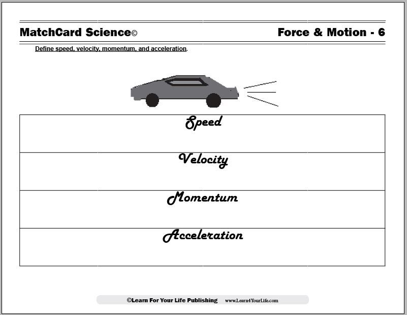 Science Worksheets Speed Velocity Acceleration Speed Lesson Plans Acceleration