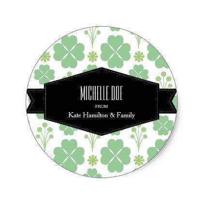 Lucky green modernist shamrock irish classic round sticker st patricks day gifts saint patricks day