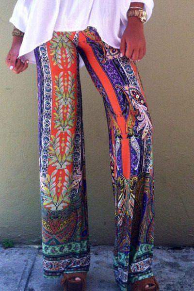 Casual Tribal Print Wide-Leg Pants For Women
