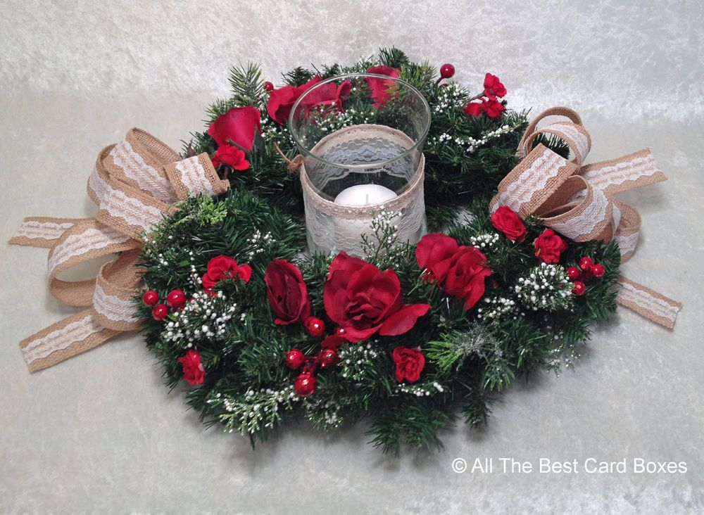 Christmas Table Centerpiece Christmas Wreath Candle Holder Christmas Decorati Flower Centerpieces Wedding Christmas Wedding Centerpieces Unique Wedding Flowers